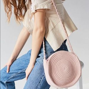 Urban Outfitters Pink Circle Woven Crossbody Bag